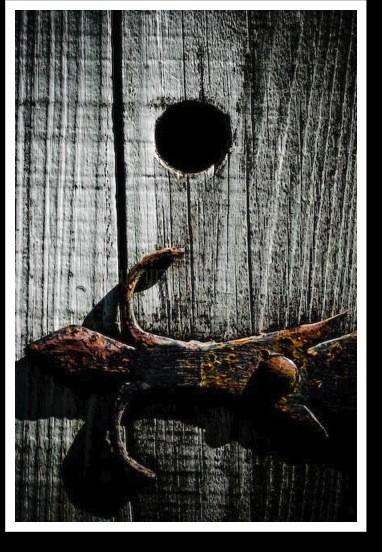 a rustic door hinge