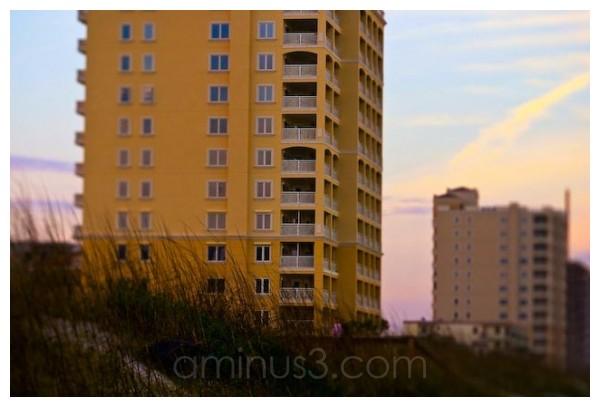 evening sunset across a building