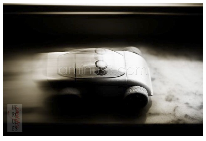 A wooden car driving fast