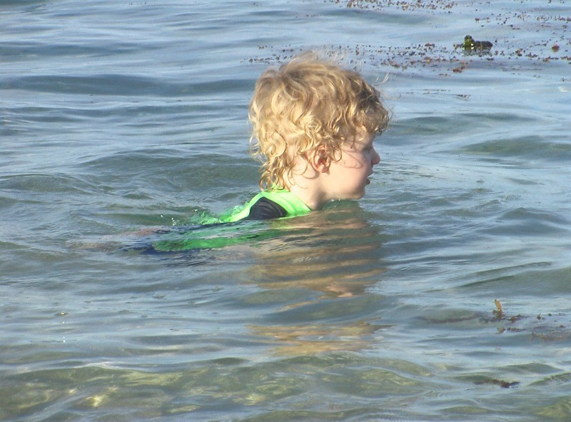alex in the water