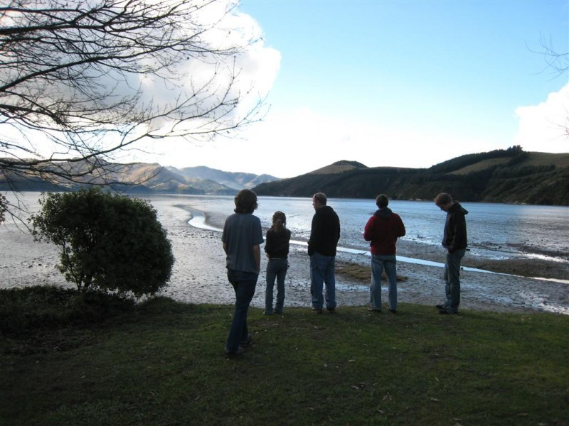 Group of students at a bay in New Zealand