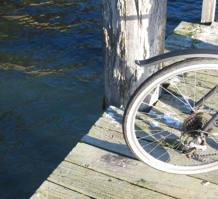 bicycle on a dock in new zealand