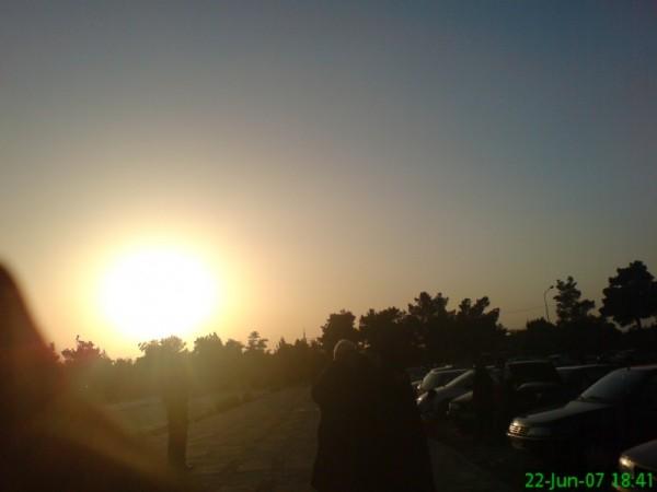 dusk in cemetery