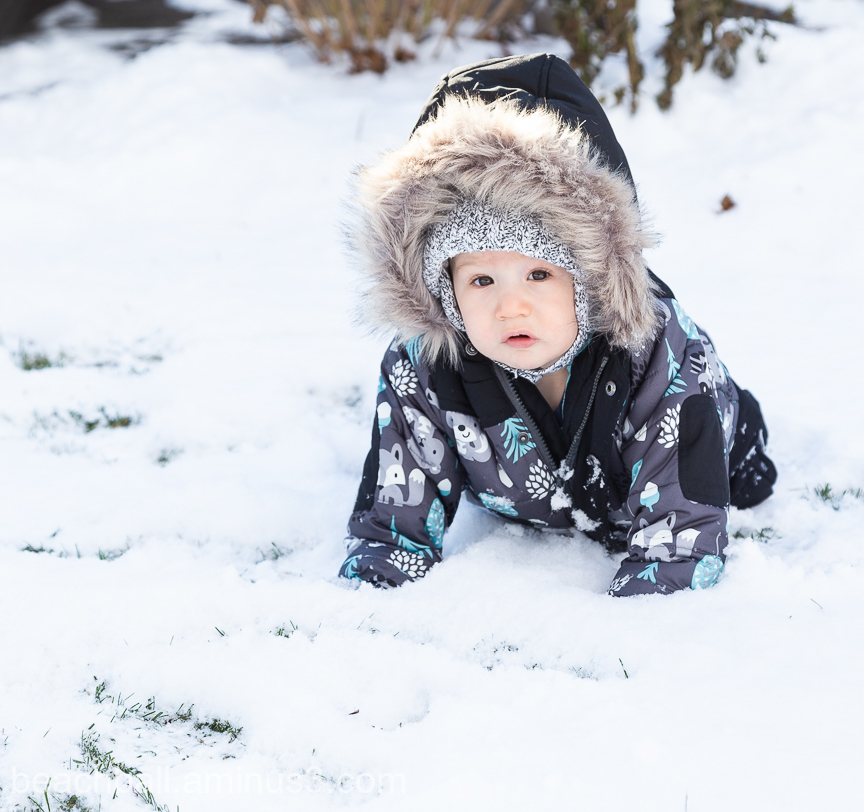 Little boy crawling in the snow