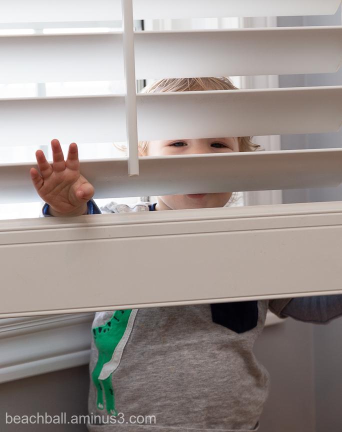 litlle boy hides behind the shutters