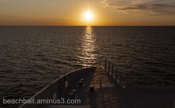 Sun coming up over Lake Michigan
