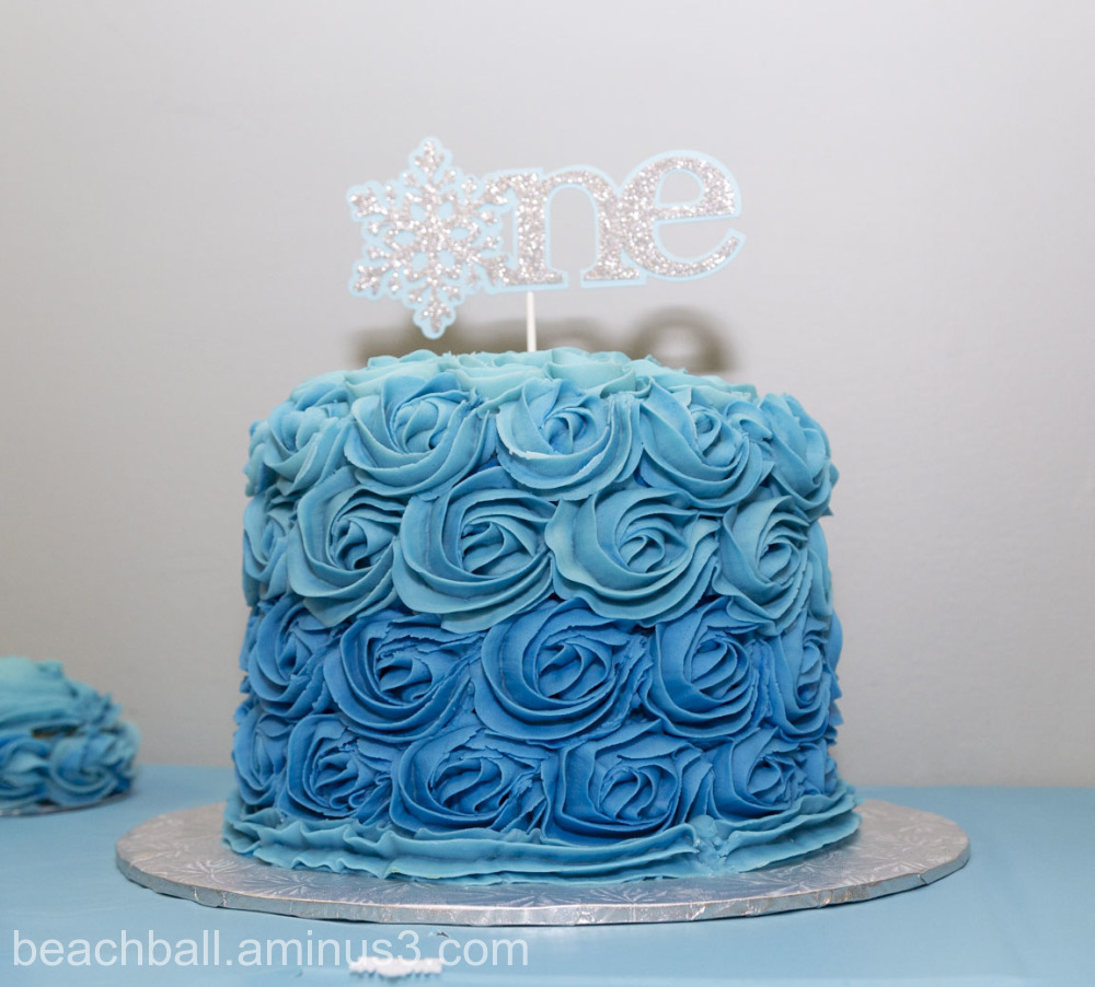 a blue birthday cake
