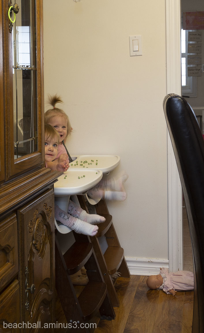 Twin girls in highchairs.