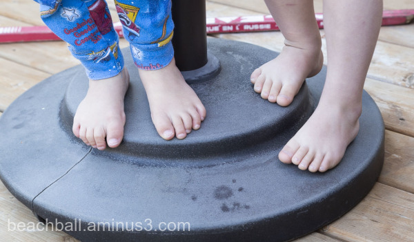 two pairs of children's feet