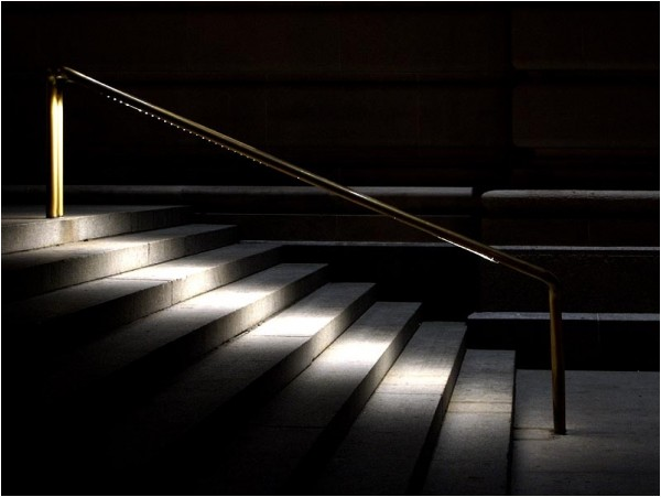 Lighted steps at the Metropolitan Museum