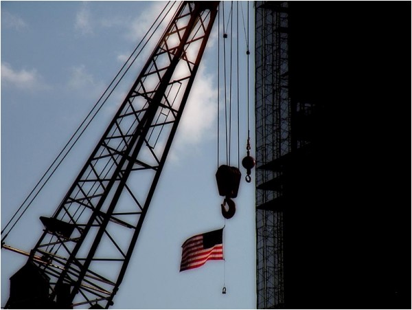 Stars and stripes at the World Trade Centre site