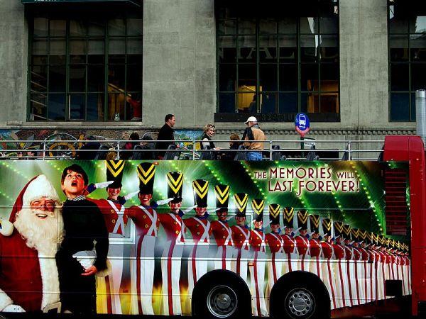 Tour bus in lower Manhattan