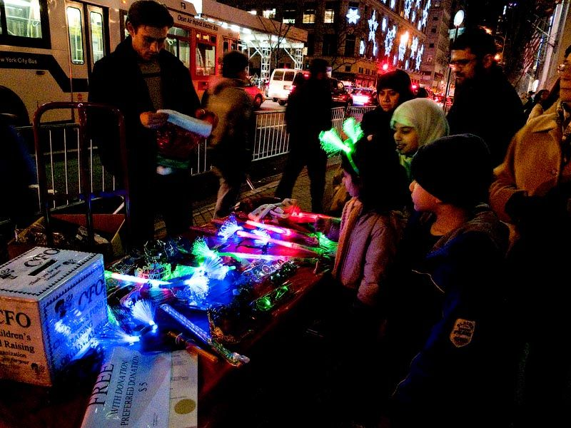 Selling neolights on Fifth Avenue