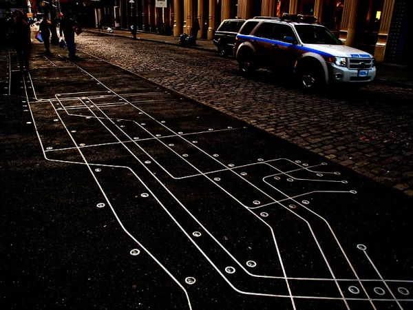 Subway map on the sidewalk