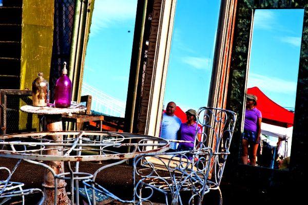Flea market reflections under the Brooklyn Bridge