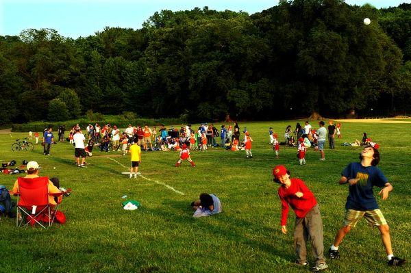 Little League practice at Prospect Park