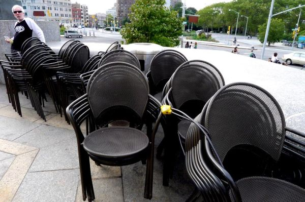 Chairs at Brooklyn Library plaza
