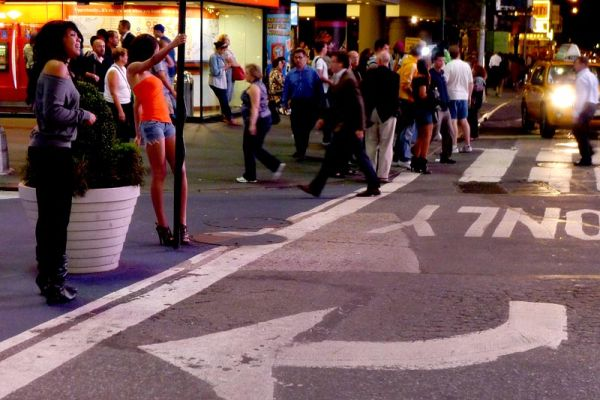 Walking on Times Square