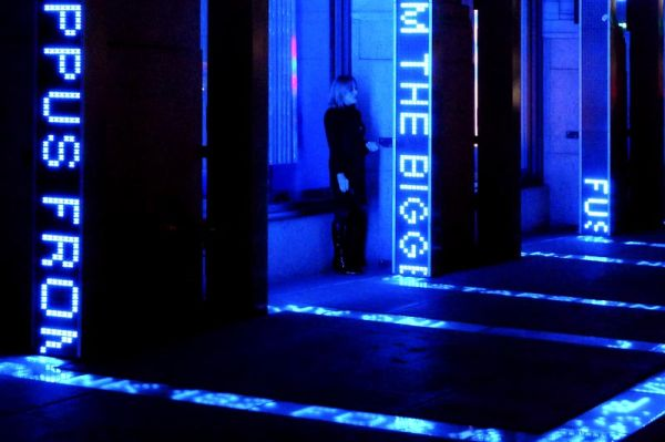 Waiting under blue lights near Madison Square Gard