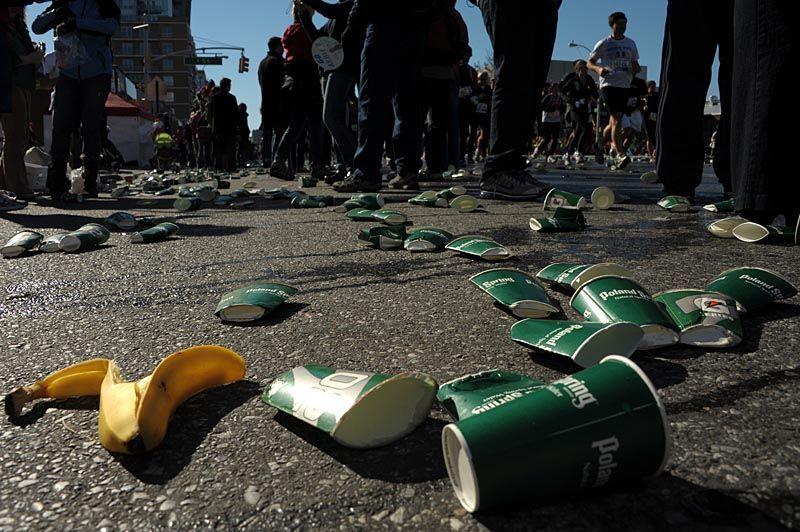 Debris on Fourth Avenue, NYC Marathon