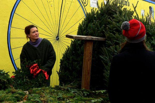 Christmas tree vendor on Union Street
