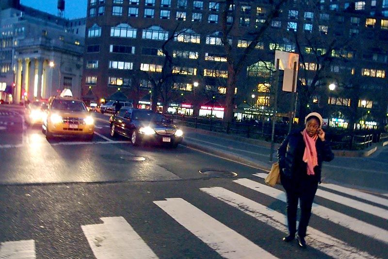 Crossing a street on Union Square