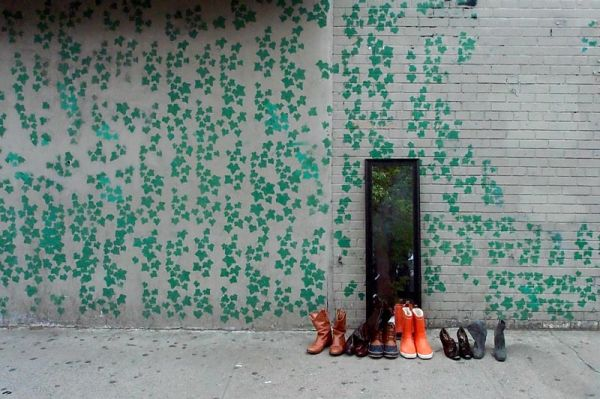 Boots on 7th Avenue sidewalk