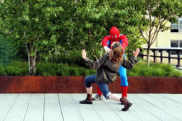 Spiderman and lady at Highland Park