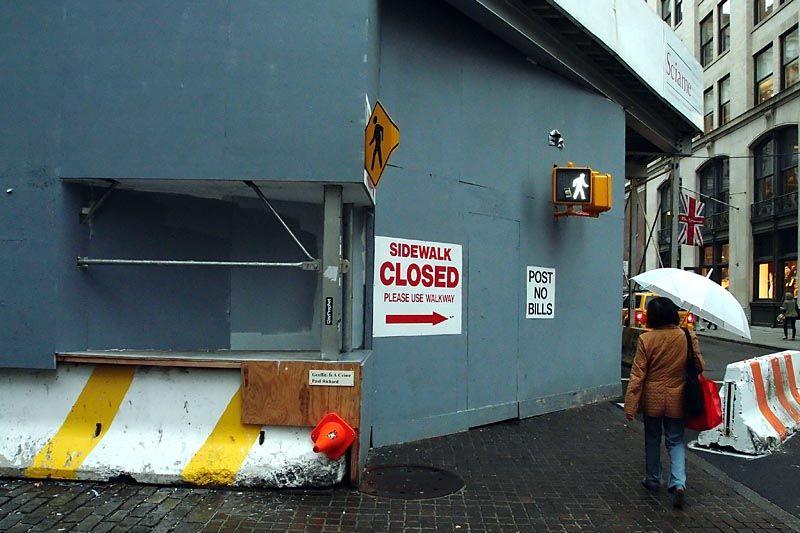 Closed walkway on Broadway, lower Manhattan