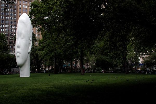 Sculpture by Jaume Plensa on Madison Square Park
