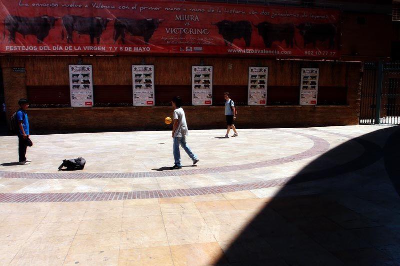 Boys playing ball at the Plaza de Toros