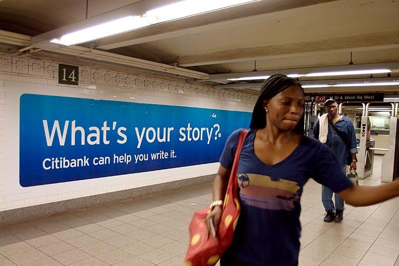 Bank sign at a subway stop