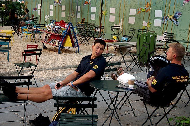 Policemen relaxing at Bryant Park