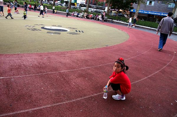 Young girl on trackfield