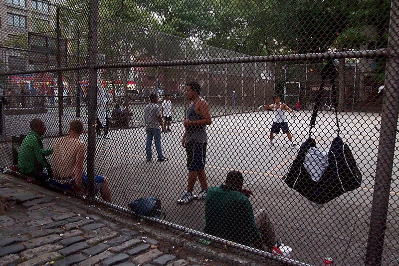 Basketball game on city playground