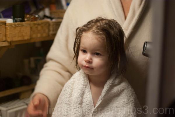 Fanni after bath drying hair
