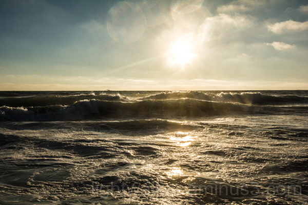 Sun low over the Pacific at Salt Creek Beach