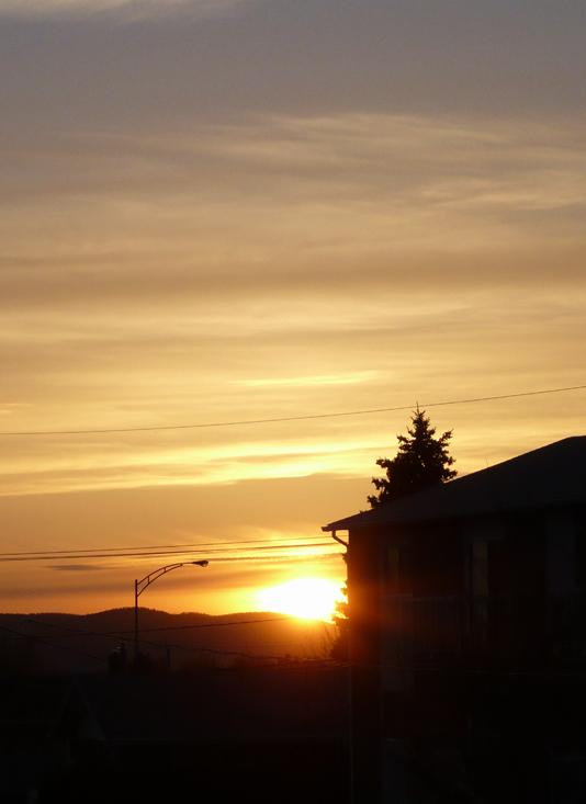 coucher de soleil sur la ville