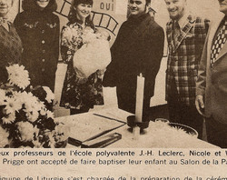 memorabilia   un baptême à l'école   1974