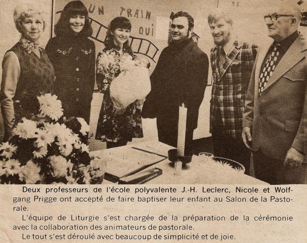 memorabilia - un baptême à l'école - 1974