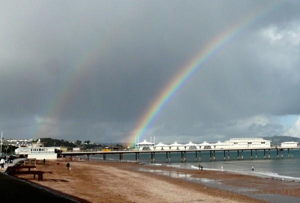 A double rainbow over Paignton Pier