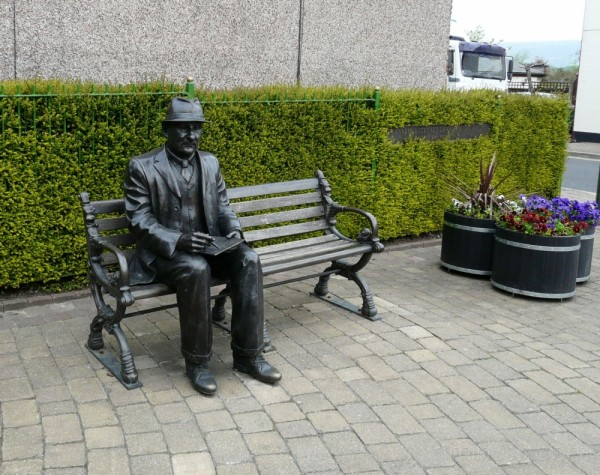 Statue of L S Lowry at Mottram in Longdendale
