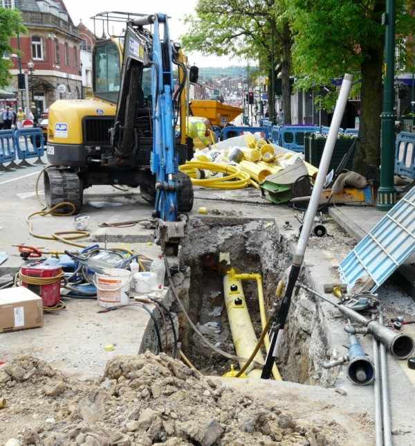 Roadworks in Hyde during laying of new gas main