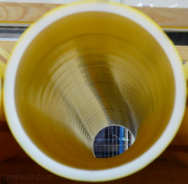 looking through a gas pipe
