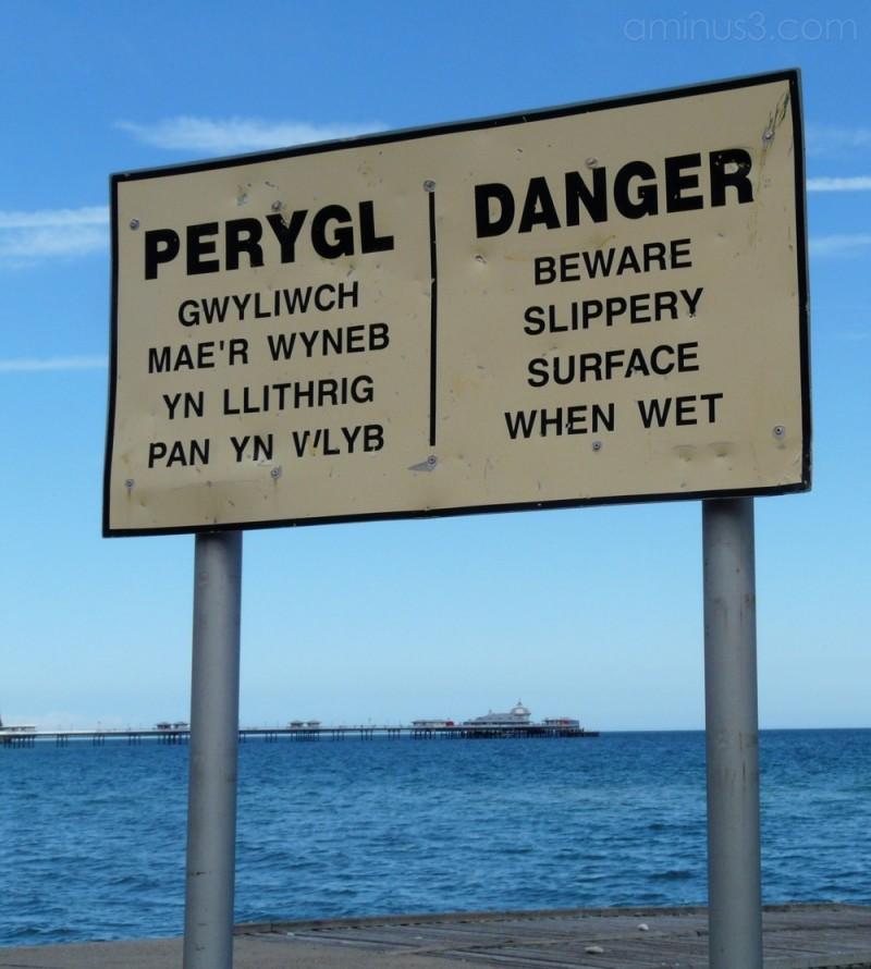 Danger sign at Llandudno