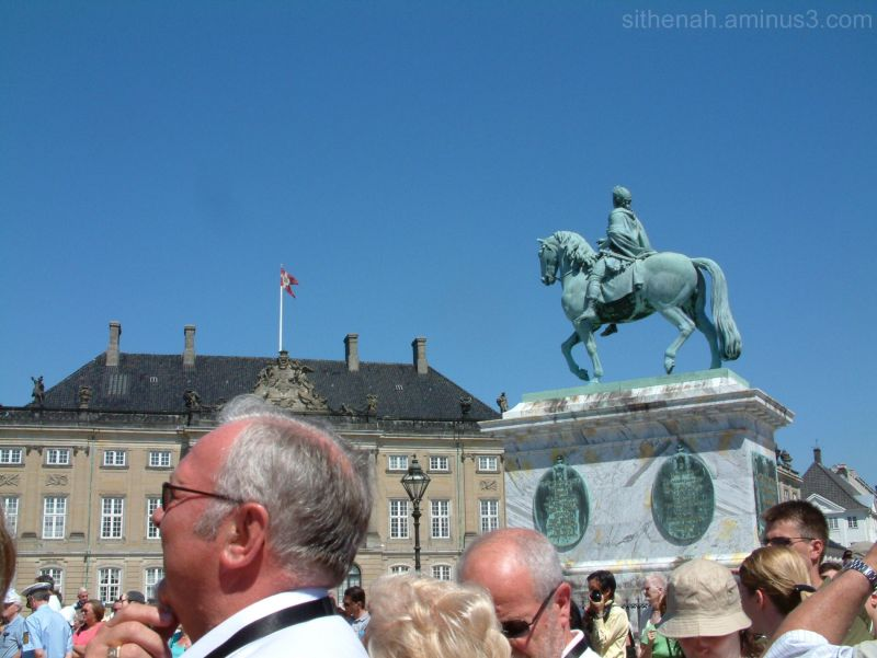 The changing of the guard at Amalienborg Castle.