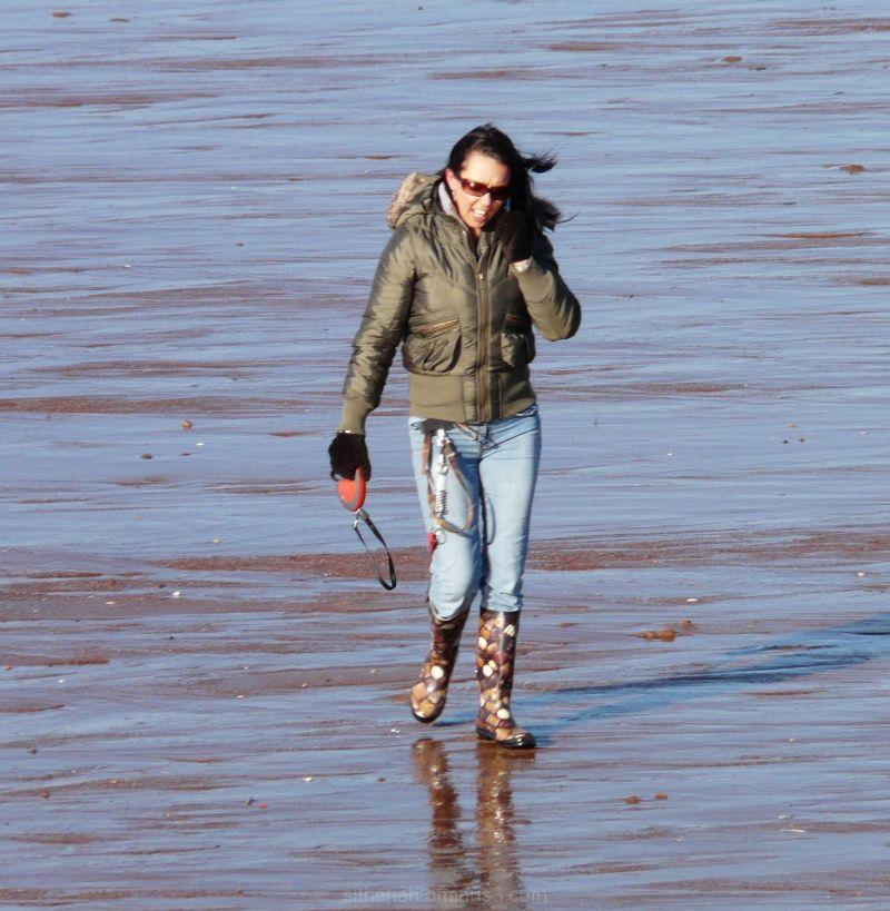 Dogwalker on Paignton Beach