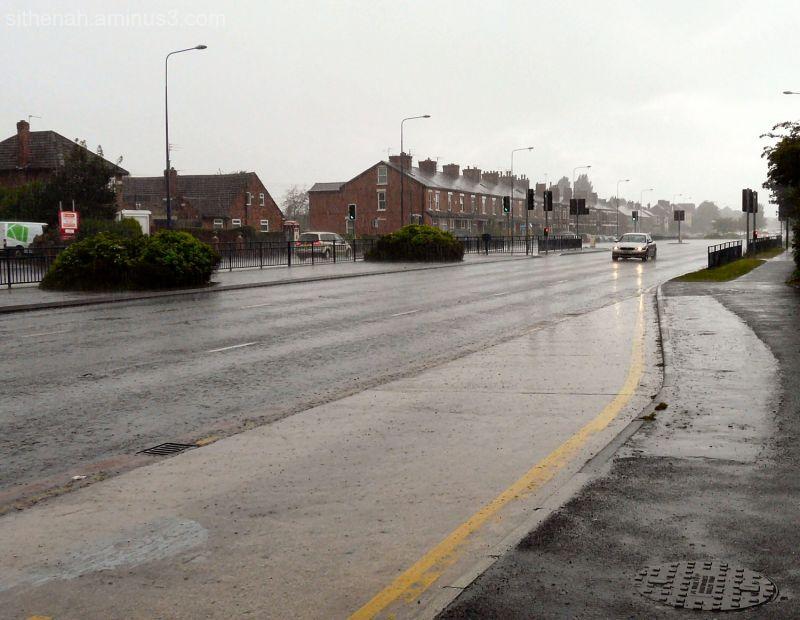 Near Denton roundabout in heavy rain