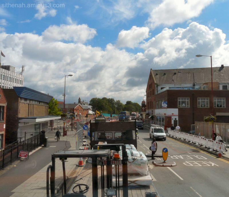 Droylsden during metrolink construction