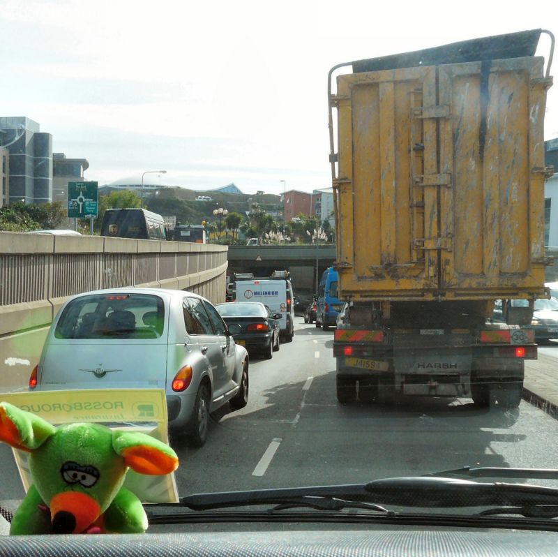 Traffic jam in St Helier
